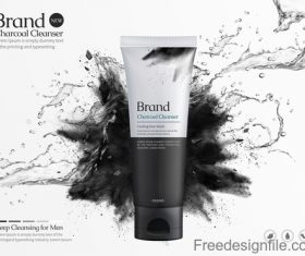 Charcoal cleanser poster template vectors 01
