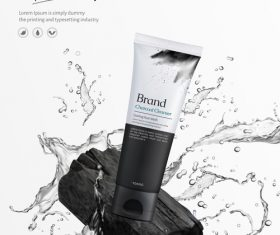 Charcoal cleanser poster template vectors 02