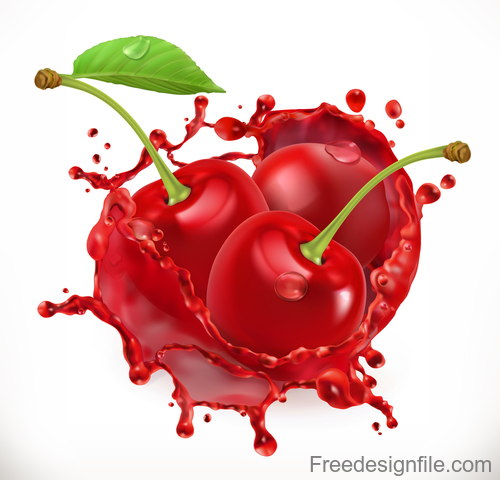 Cherry juice splash vector illustration