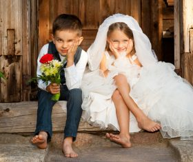 Children dressed as grooms and brides Stock Photo 02