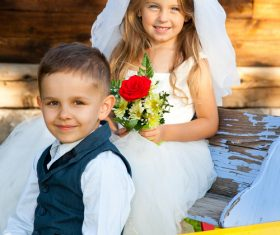 Children dressed as grooms and brides Stock Photo 03