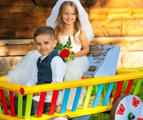 Children dressed as grooms and brides Stock Photo 04