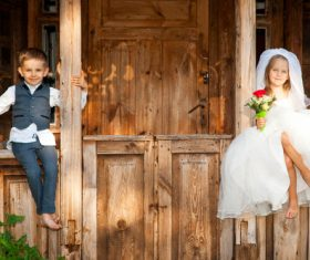 Children dressed as grooms and brides Stock Photo 05