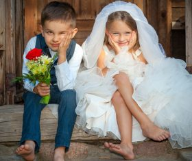 Children dressed as grooms and brides Stock Photo 06