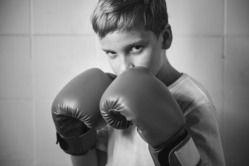 Children with boxing gloves Stock Photo