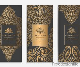 Chocolate card with vintage decorative vector 02
