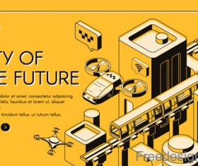 City of the future isometric template design vector