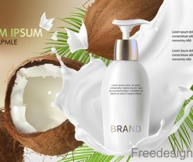 Coconut cosmetics poster template vector 01