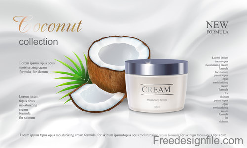 Coconut cosmetics poster template vector 02