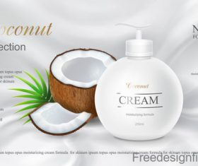 Coconut cosmetics poster template vector 03