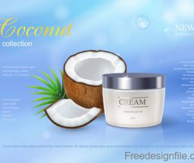 Coconut cosmetics poster template vector 04