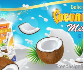 Coconut milk poster template vector