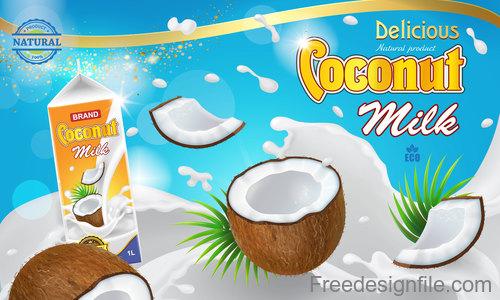 Coconut milk poster template vector