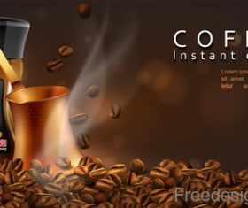 Coffee instant choice advertisement poster vector 02