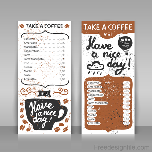 Coffee menu template vector design