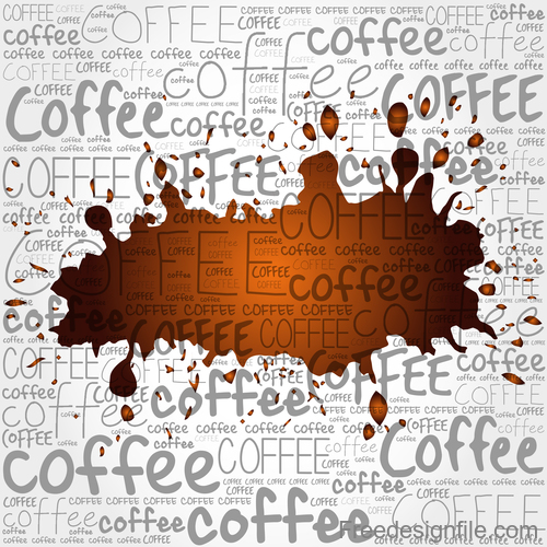 Coffee stain and coffee text background vector