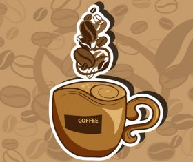Coffee sticker with brown background vector