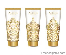 Cosmetics package with golden decor pattern vector 04