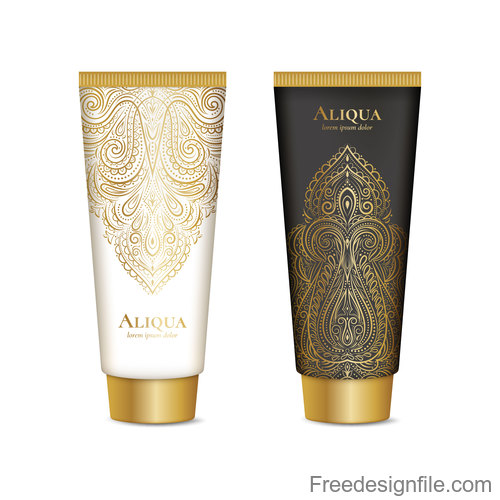 Cosmetics package with golden decor pattern vector 06
