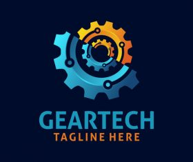 Creative gear logo design vectors set 04