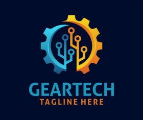 Creative gear logo design vectors set 07