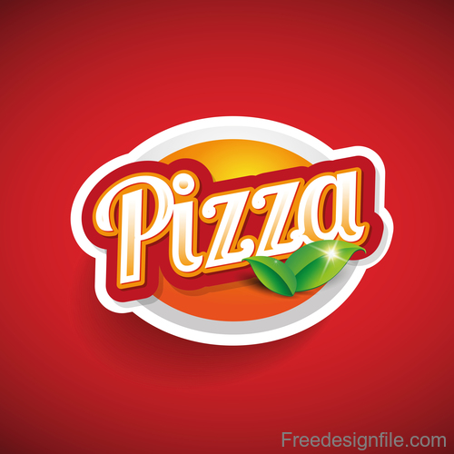 Creative pizza logos design with red background vector