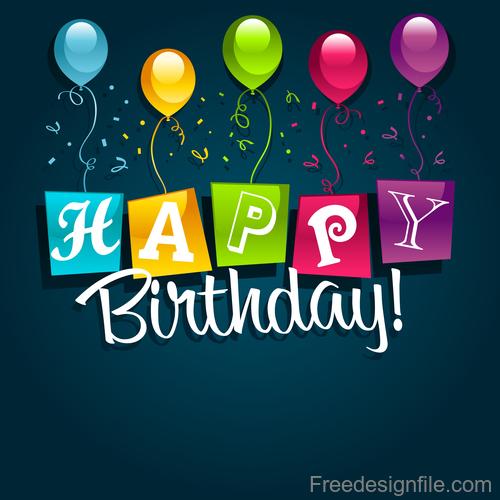 Dark blue happy birthday background vector