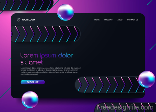 Dark styles website background template vector 08
