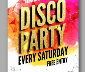 Disco club party poster with flyer design vector