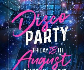 Disco party poster with flyer template vector design