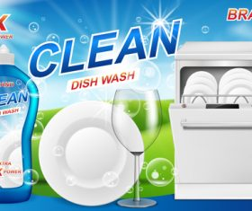 Dish wash cleaner poster template vector 02