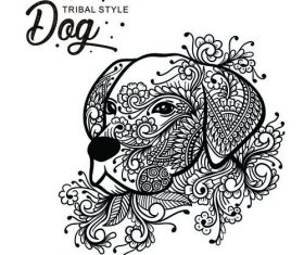Dog head tribal style Hand drawn vector