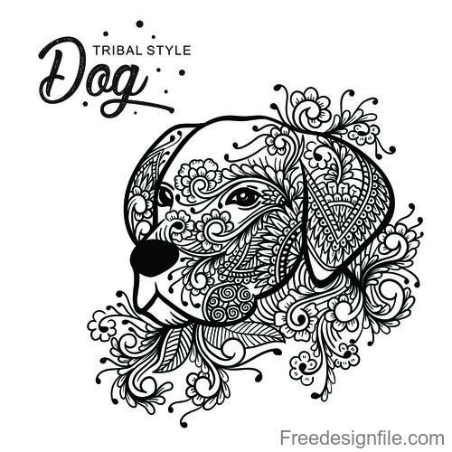 Dog head tribal style Hand drawn vector