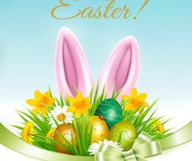 Easter background with grass and flowers and rabbit vector