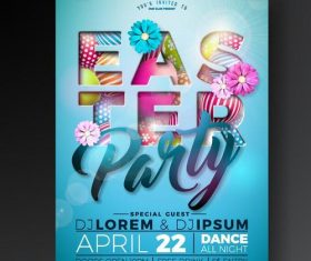 Easter party poster with flyer template vectors