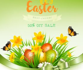 Easter sale background with grass and flowers and colorful eggs vector