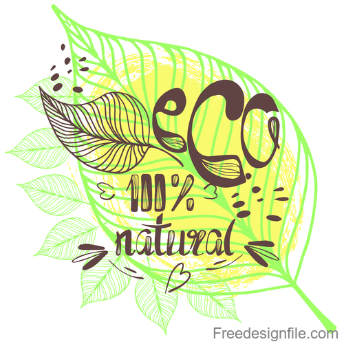 Eco design and vegan healthy lifestyle vector 01