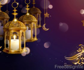 Eid malarak festival golden ornate design vector 04