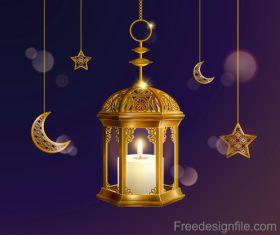 Eid malarak festival golden ornate design vector 05