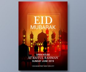 Eid mubarak festival poster template vector 06