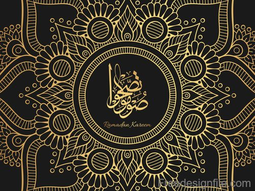 Eid mubarak golden decor pattern vector