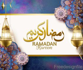 Eid mubarak purple luxury background vector 04