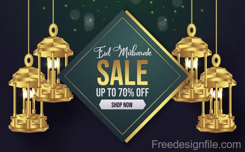 Eid mubarak sale background vector design 02
