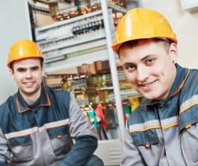 Electrician professional technician in uniform Stock Photo