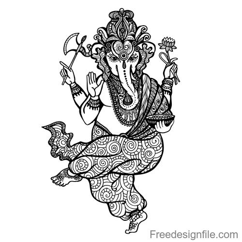 Elephant Man vintage decorative design vector