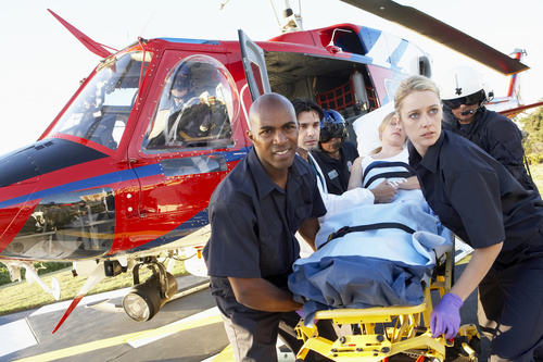 Emergency transfer of seriously ill patients Stock Photo