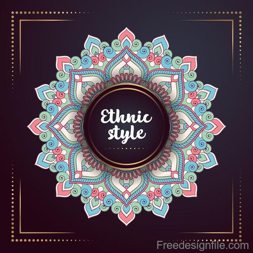 Ethnic styles colored decor pattern vectors 02