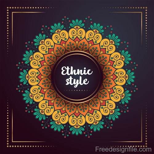 Ethnic styles colored decor pattern vectors 05