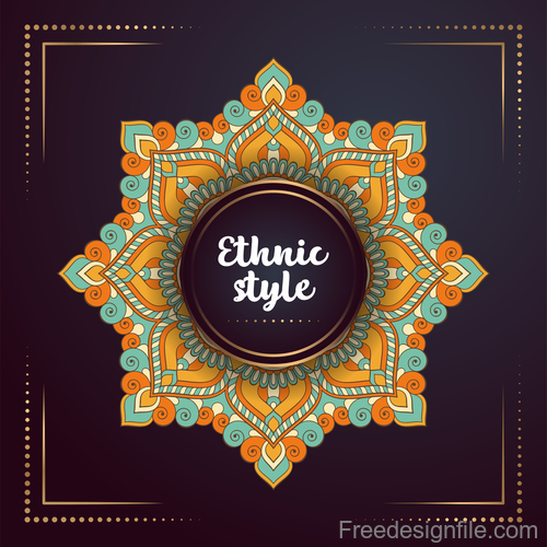 Ethnic styles colored decor pattern vectors 08