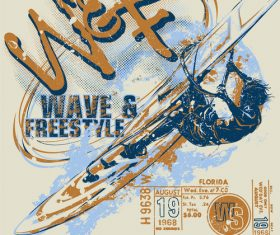 Extreme sports vintage poster template vectors 01